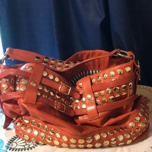Rebecca Minkoff orange, gold studded purse
